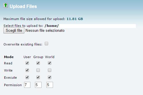 come settare i file di un file in upload