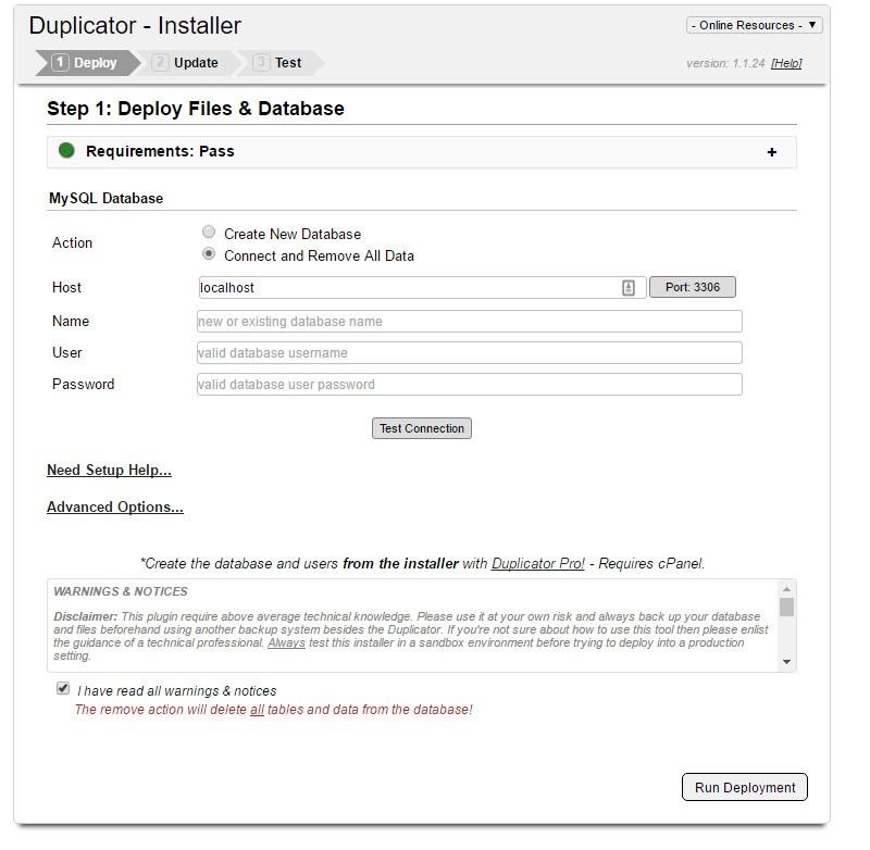 istallazione sito su nuovo hosting con duplicator