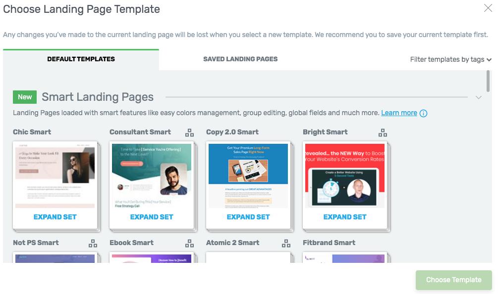 scegli la tua landing page