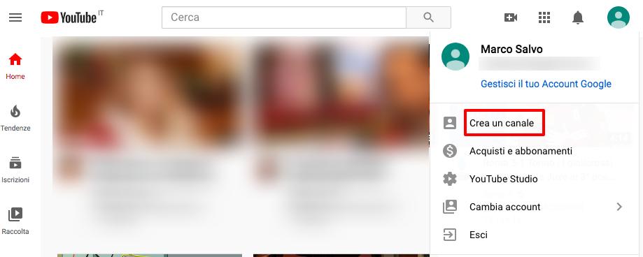 Crea il tuo primo canale YouTube
